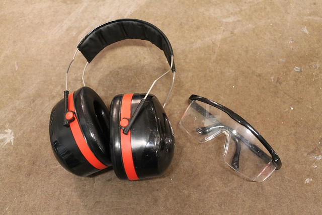 Hearing protection and goggles
