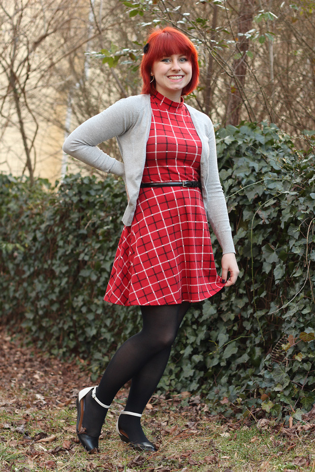 Red Plaid Mock Turtleneck Dress, Gray Cardigan, Black Tights, and Two Toned Flats