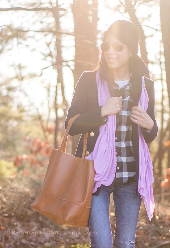 navy pea coat, lilac scarf, navy plaid shirt, cognac brown tote