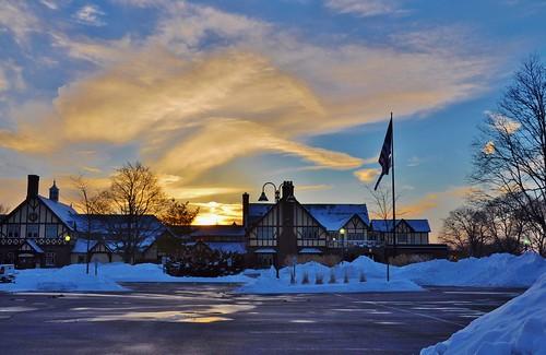 sunset usa sun building clouds us illinois nikon flag countryclub wheeling chevychase d90 stevelamb 2015feb4