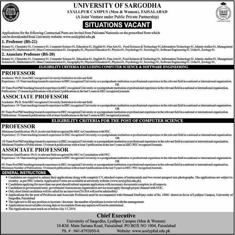 University of Sargodha Faislabad Campus Faculty Required