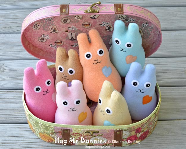 Pastel Fleece Hug Me Bunnies, original art toys by Elizabeth Ruffing