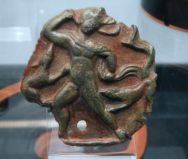 Bronze-relief from a hydria depicting Actaeon being torn apart by dogs, ca. 380 BC, Staatliche Antikensammlungen, Munich