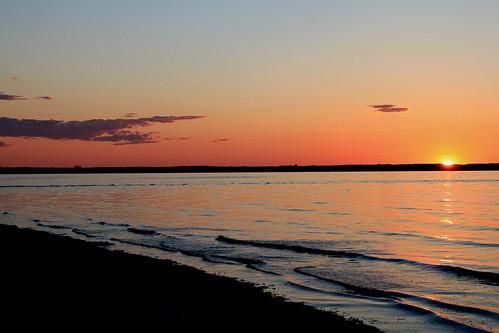 sunset summer sky sun beach water clouds canon sand waves