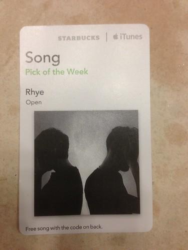 Starbucks iTunes Pick of the Week - 6/25/2013 - Rhye [@Rhyemusic] - Open