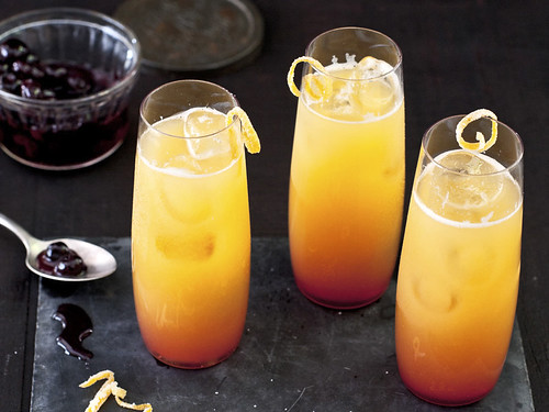 Blue Sunrise Cocktails with Pickled Blueberries