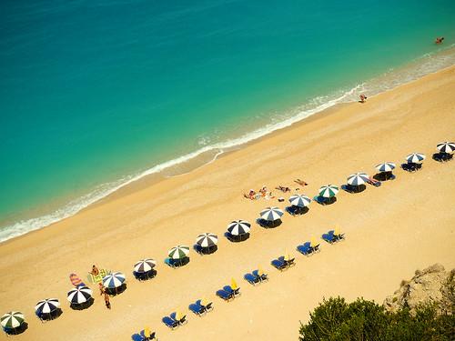 sea summer beach water umbrella sand paradise earth sunbed ionian egremni lefkada sunbeds