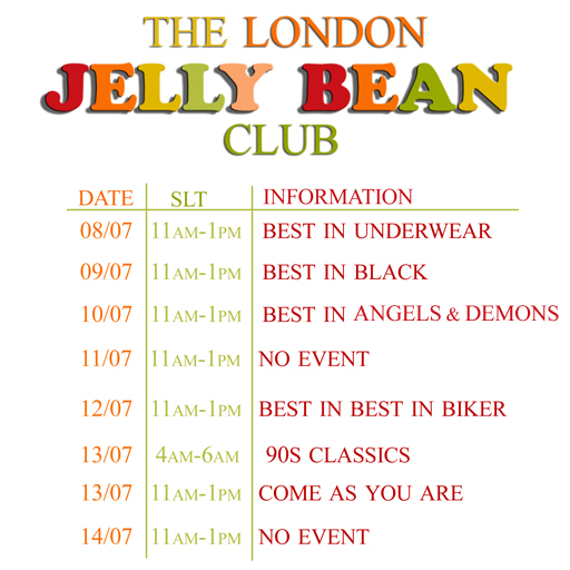 Jelly Bean Schedule 8.7.13