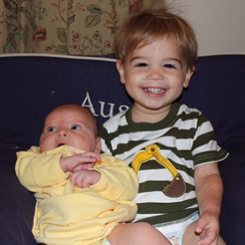 #tbt to the first time Austin asked to hold Miller. Proud big brother.