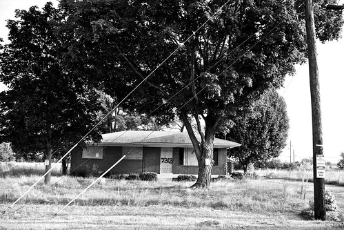 road morning light urban bw tree abandoned grass lines sign concrete mono decay ky space empty august powerlines porch louisville boardedup powerline flyover notrespassing 2013