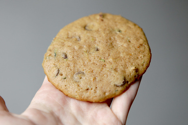 Delicious Zucchini Chocolate Chip Cookies recipe. These cookies are beautiful with specks of green zucchini!