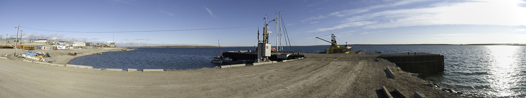 Panorama view of the dock at Cambridge Bay