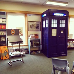 Tardis mysteriously appeared in the book shop. I couldn't get into it but I imagine it to be bigger on the inside.