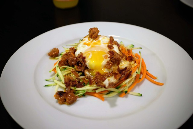"julienned zucchini + carrots topped with ""carbonara"" of pan-fried chorizo, bacon, butter, heavy cream, and egg"