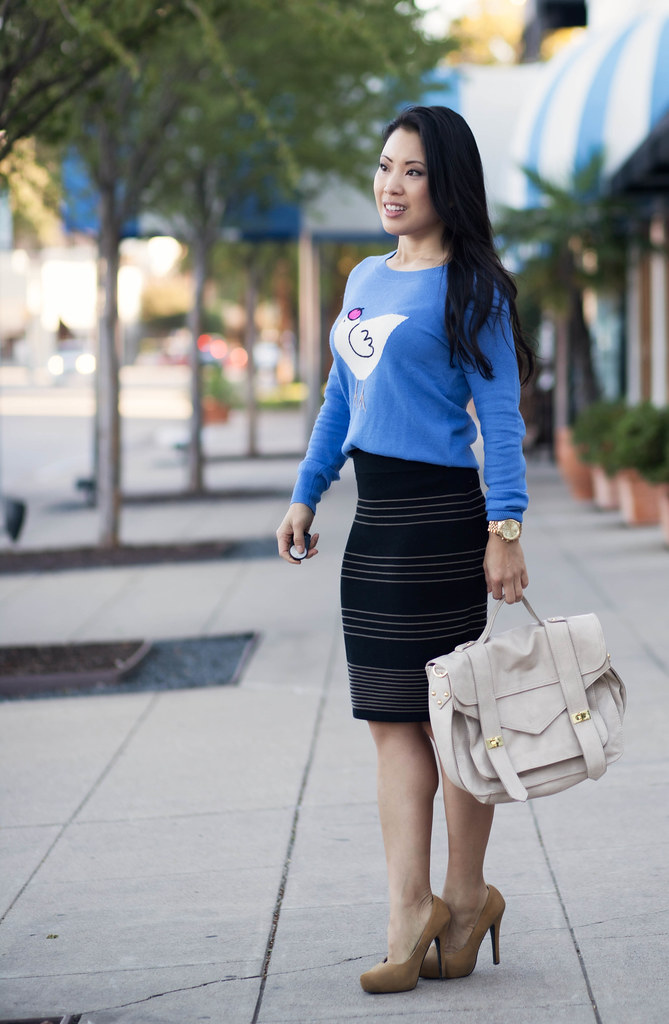 cute & little blog | j. crew french hen sweater, black bandage skirt, mustard pumps outfit #ootd