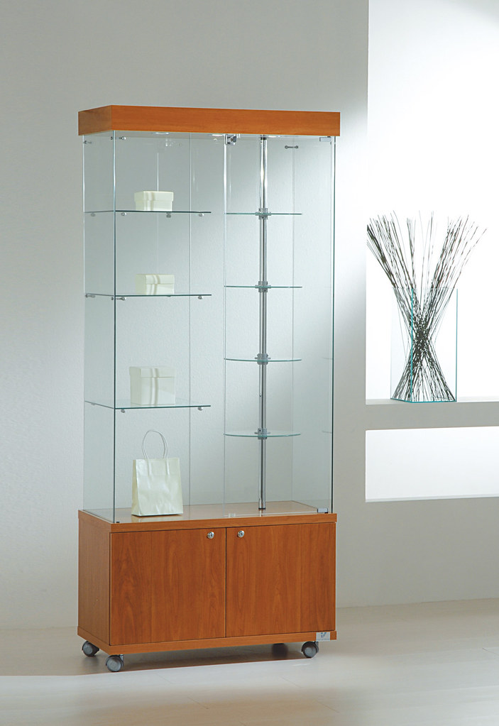 Glass Showcase Display With Rotating Shelves Lights And