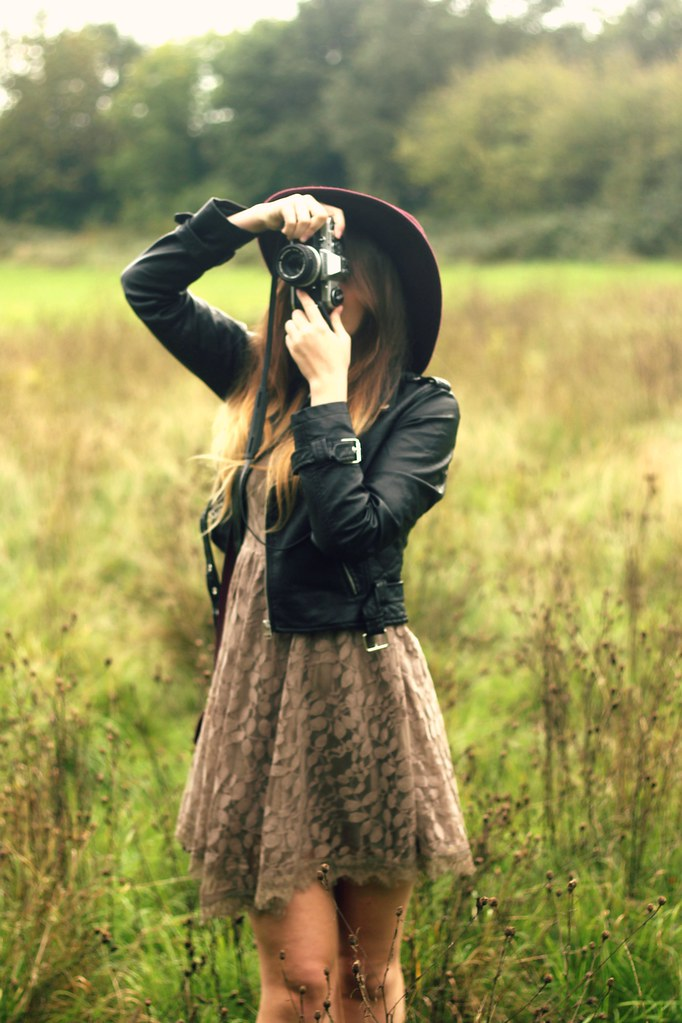 Autumn Outfit Free People Dress Leather Jacket
