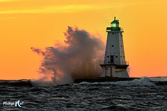 November Gales at Ludington's North Breakwater Light by Michigan Nut