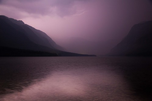Purple Reign (Lightning Storm Over Bohinj Jezero), Triglav National Park by flatworldsedge
