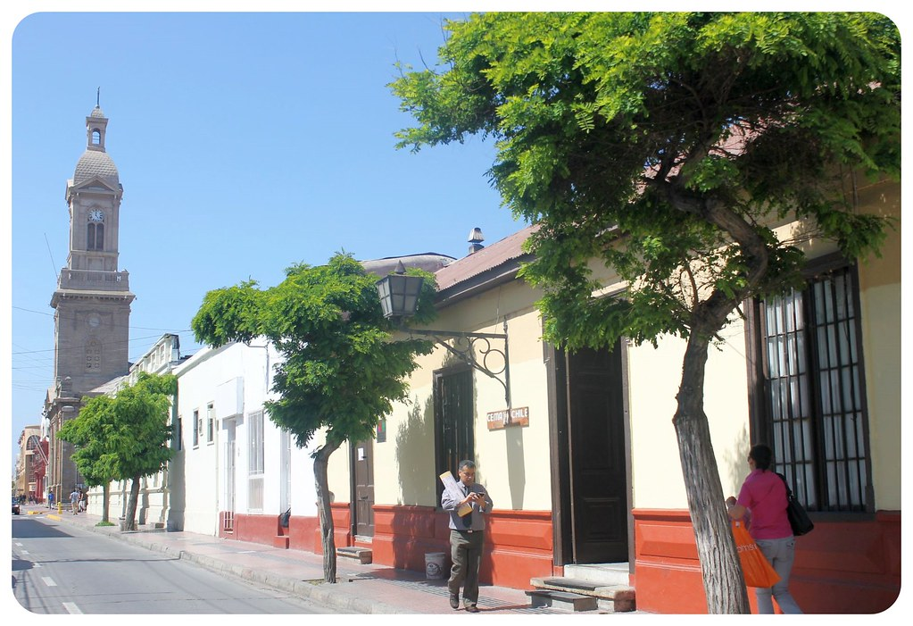 la serena street with church