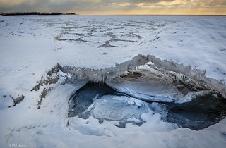 Small ice bridge on frozen Lake Ontario - Ward's Island beach