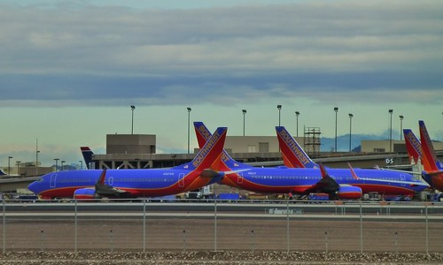 Blue and Orange Southwest Airlines...