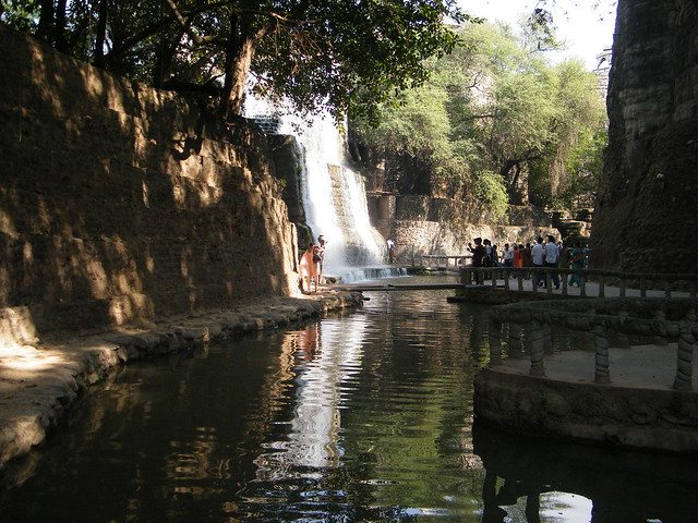 waterfall and pond in Rock garden, Chandigarh