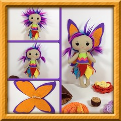 Izzy loves to play with the colors of the rainbow. She loves to paint with them and sometimes ends up wearing more colors than her paper! #fae #fairy #fauxfur #felt #doll #plush #kawaii #rainbow