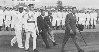 City of Port Adelaide 1856 - 1956 Centenary Celebrations - Official Opening at John Hart Oval, Saturday March 17 1956 - His Excellency the Governor Sir Robert George leaving the Guard.