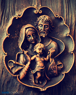 Holy Family on Mahogany