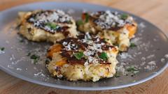 coconut(0.0), plant(0.0), produce(0.0), stuffing(0.0), cucurbita(0.0), meal(1.0), breakfast(1.0), crab cake(1.0), vegetarian food(1.0), leaf vegetable(1.0), food(1.0), dish(1.0), cuisine(1.0),