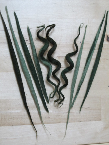 Felted leaves and tendrils