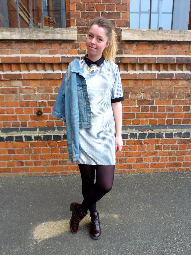 Rare checked gingham dress with peter pan collar