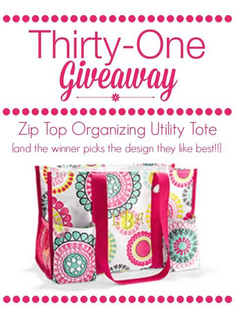 ThirtyOne Giveaway - Enter to win a Zip Top Organizing Utility Tote  - the winner picks the design that they like the best!