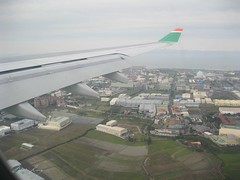 Eva Air view out the window of the plane.