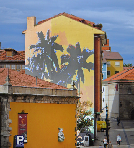 Large Mural on an Apartment Building in Aviles, Spain