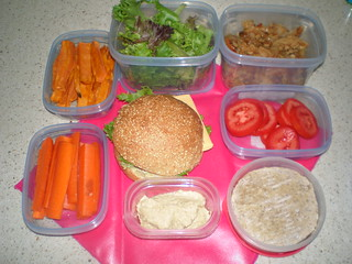 Veggie Burger; Sweet Potato Oven Fries; Wheat-Free Apple Crisp; carrot sticks; hummus