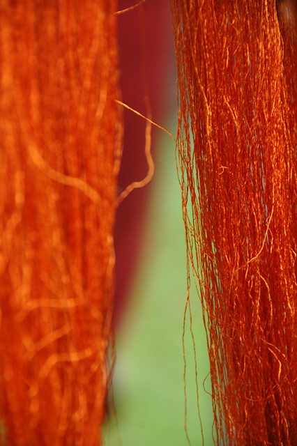 silk threads dyed with saffron