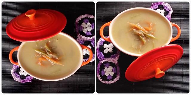 sopa de fideos vegetales Collage