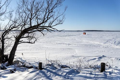 lake landscape frozen champlain