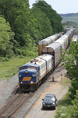 FP9u #1400 & #1401 head East toward Coakley siding on the CP to deliver and retieve interchange traffic.