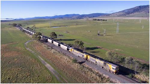 green train landscape scenery scenic australia scene caterpillar tasmania tr drone coaltrain tasrail dji tr13 fingalvalley trclass fingalbranch trainsintasmania stevebromley djiphantom3standard phantom3standard