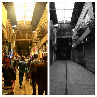 Tehran Bazaar on a typical day and during the Nowruz holiday