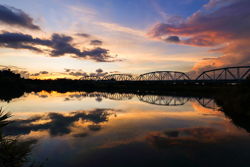 bridge sunset sky cloud sun sunlight lake color reflection water colors beautiful skyline clouds canon reflections landscape colorful ngc taiwan wideangle kaohsiung 夕陽 台灣 高雄 雲 6d 橋 湖 wideanglelens 倒影 反射 kaohsiungcity 高屏舊鐵橋 晨昏 色溫 舊鐵橋 canon6d 夕彩