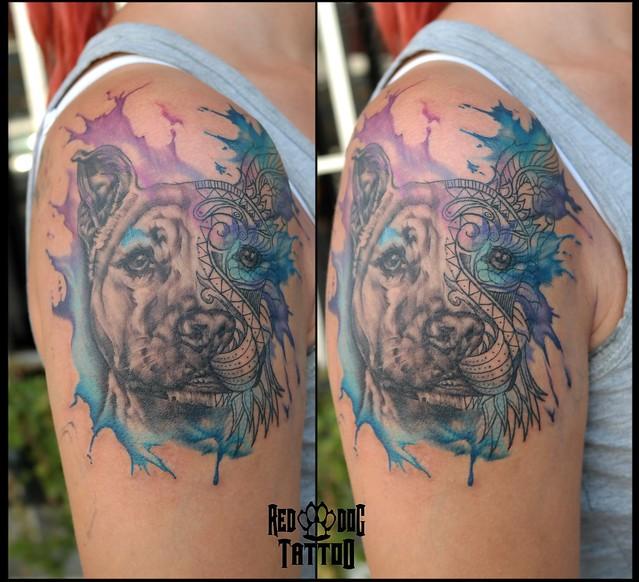 Watercolor dog portrait tattoo
