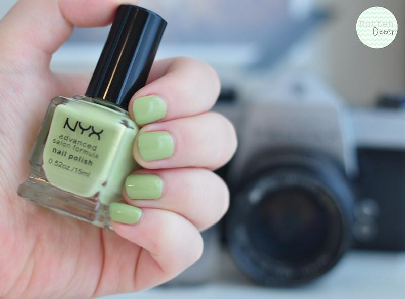 nyx pastel pistachio nail polish notd mint green creme rottenotter rotten otter blog