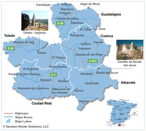 Mapa de Castela-La Mancha