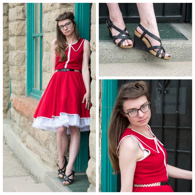 Red Dress, wedges, petticoats, polka dot belt, victory roll, vintage hair,