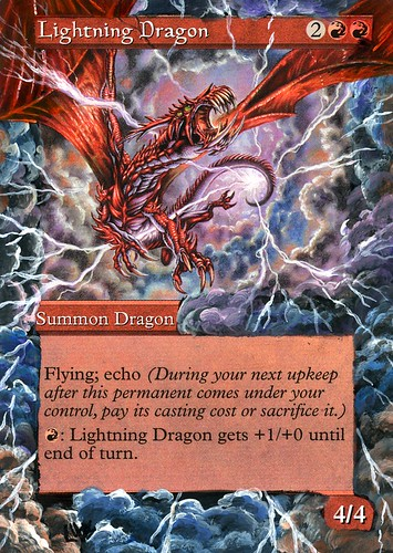 Lightning Dragon Altered Art magic the gathering art mtg altered art MTG altered artwork mtg tcg game