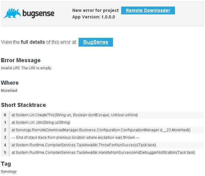 Mail BugSense d'erreur